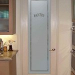 Decorative glass interior pantry doors have convenient knobs