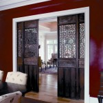 Decorative glass interior pocket doors are used in modern interiors