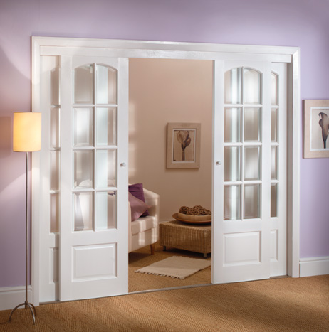 Decorative interior French doors look esthetic