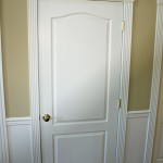Decorative trim for interior doors includes images and ornaments