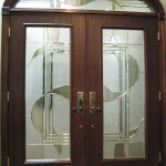 : Double doors with glass inserts for a front entry are esthetic