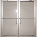 : Double doors with transom for a front entry are convenient to use