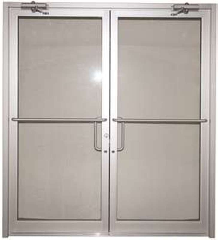 Double doors with transom for a front entry are convenient to use
