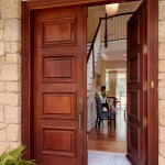 : Double front entry doors are likely to be made of quality wood