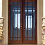 Double front entry doors can have elegant glass inserts