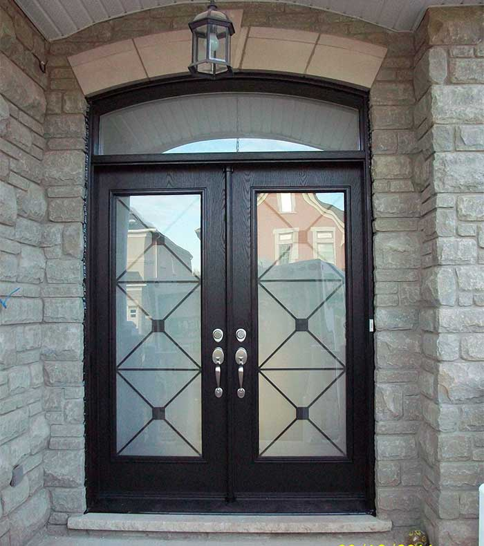 Exterior double doors with transom look much more impressive