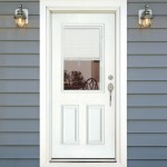 : Exterior fiberglass doors with blinds are welcoming