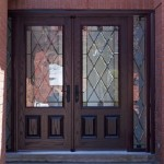 Exterior fiberglass double entry doors allow carrying big things