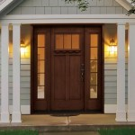 : Exterior fiberglass front entry door reflects the garden