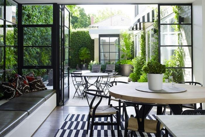 Exterior patio double doors visually expand indoor space