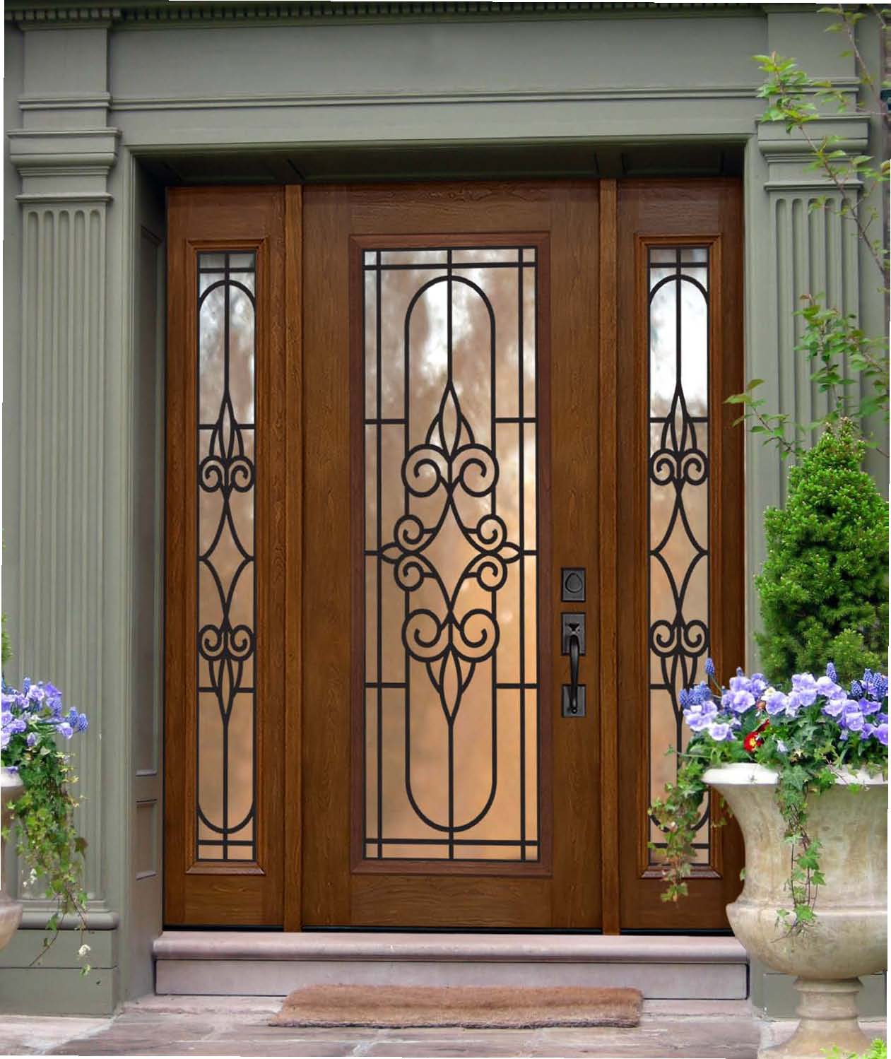 Fiberglass exterior doors with sidelights are functional are elegant