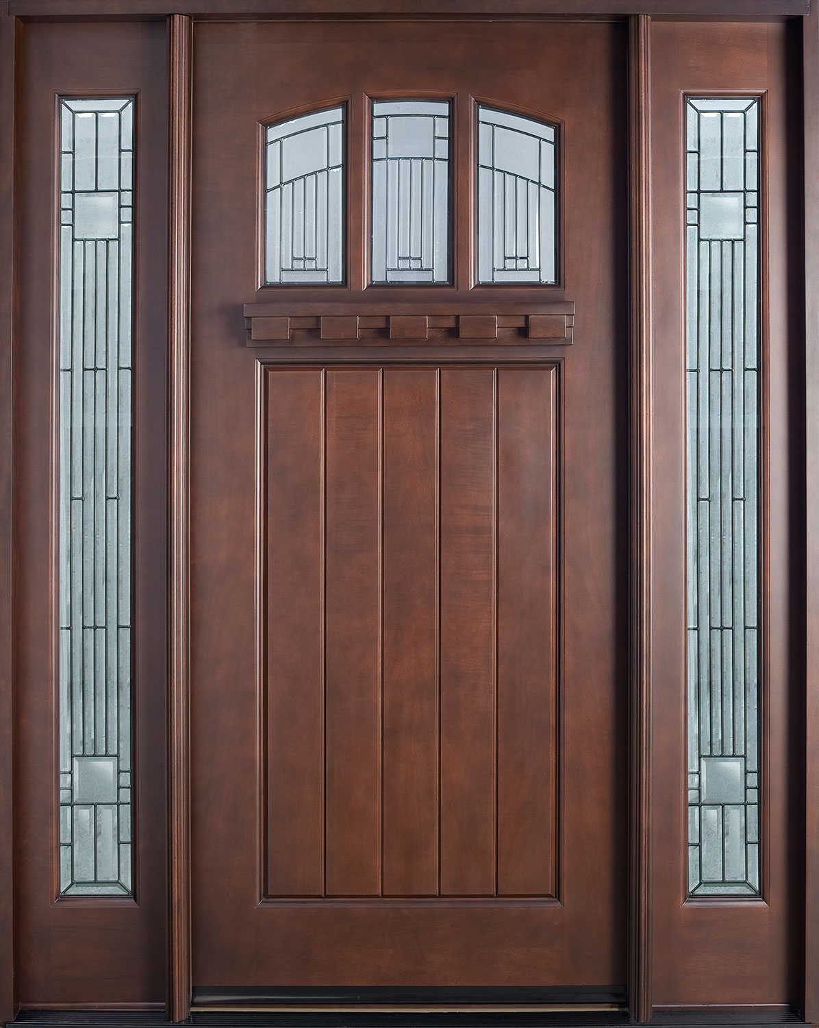 Fire rated wood doors with glass are equipped by steel inserts for safety