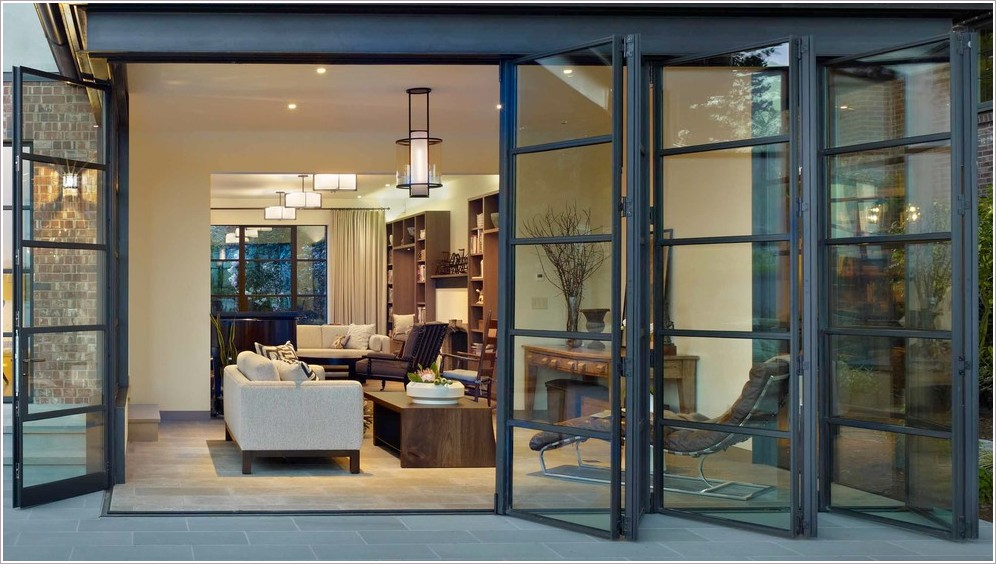 Folding  exterior aluminum doors are very light and durable