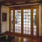 : French doors with wooden exterior look natural and harmonizing