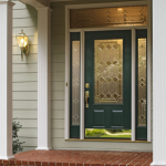 : Front door with sidelights made of fiberglass is a rather durable and functional