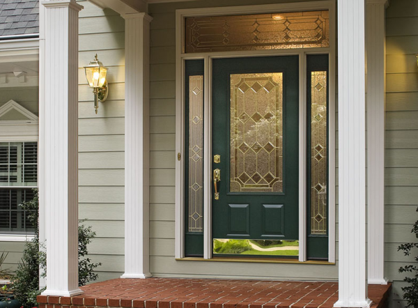 Front door with sidelights made of fiberglass is a rather durable and functional