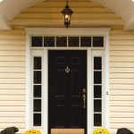 : Front doors with sidelights and transom allow hanging stylish curtains or blinds