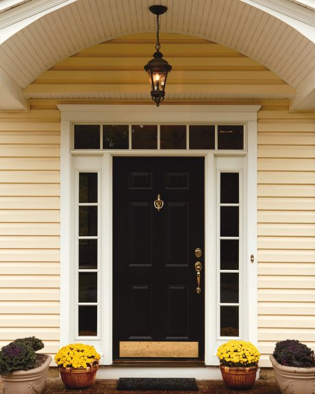 Front Doors With Sidelights And Transom Allow Hanging Stylish Curtains Or  Blinds