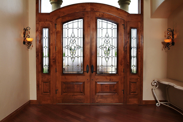 Front entryway doors with sidelights can be accomplished with a camera