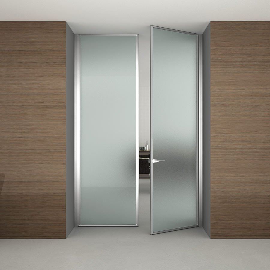 Frosted glass door can be installed in the office