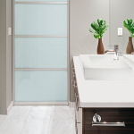 : Frosted glass door toilet transmits the light