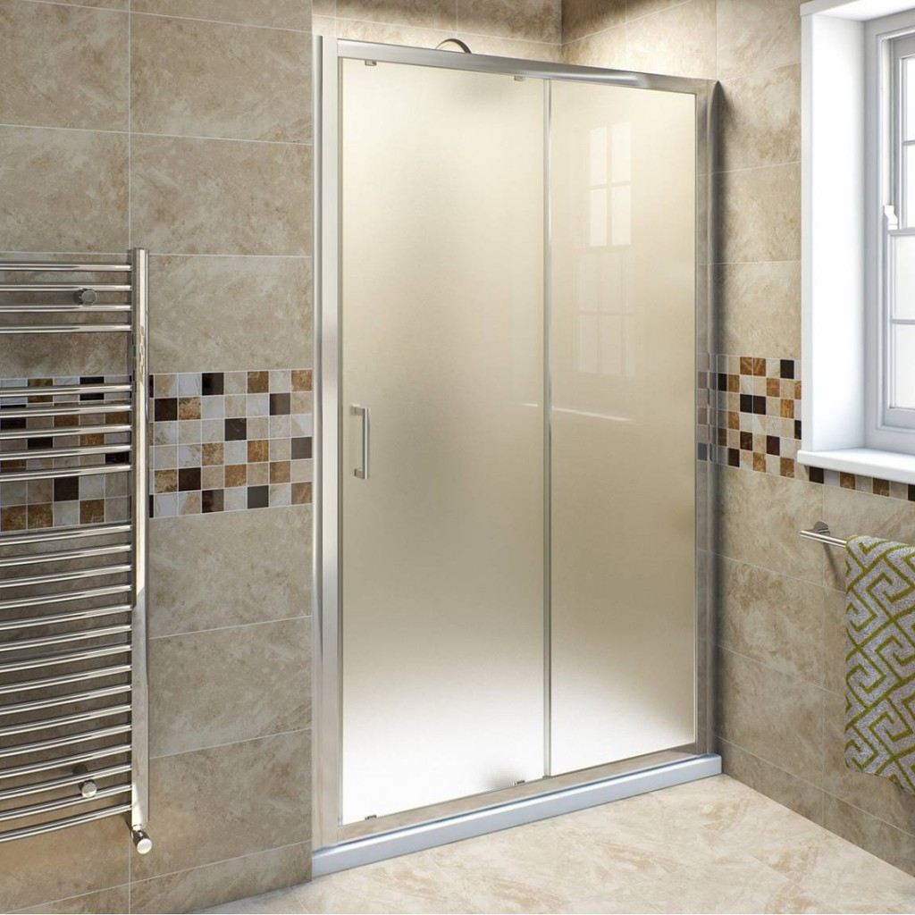 Frosted glass doors in bathrooms hide the inner space