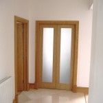 : Frosted glass internal oak doors look rich