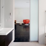 : Frosted glass internal white door gives a misty effect