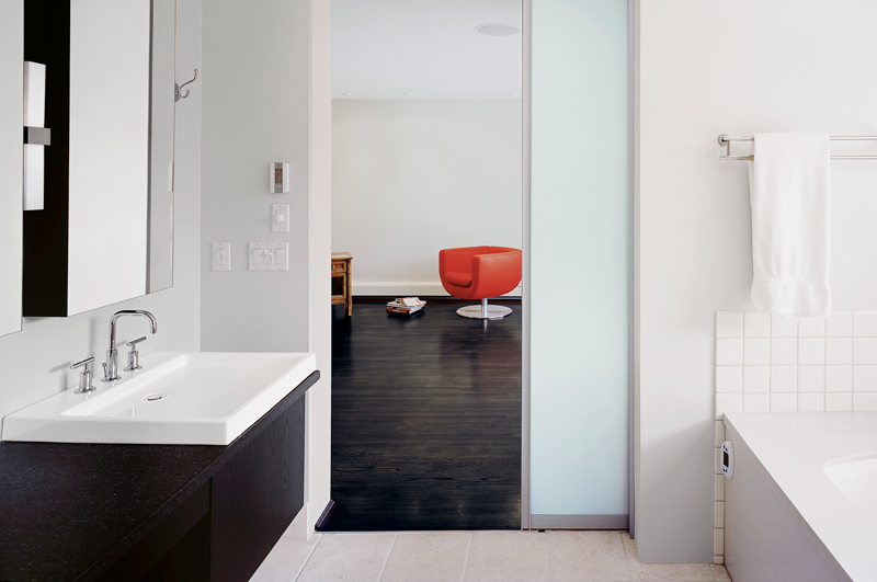 Frosted glass internal white door gives a misty effect