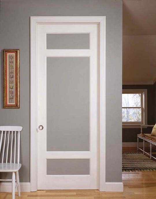 Interior French doors with etched glass is a beautiful alternative