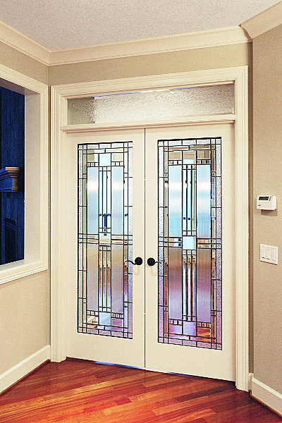 Interior French doors with tinted glass look chic