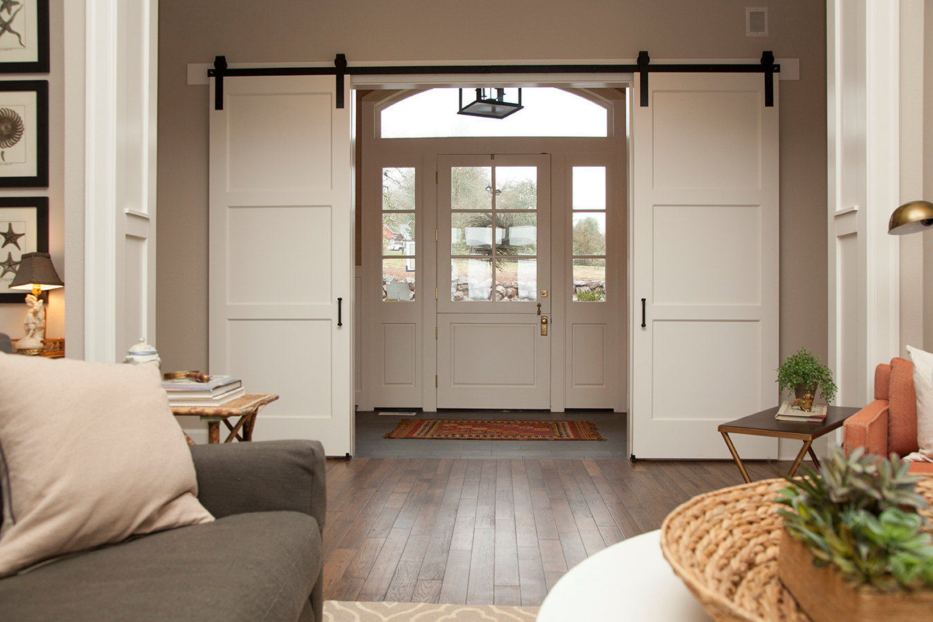 Interior barn door style hardware can be ordered online