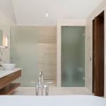 : Interior door with frosted glass are perfect for bathroom