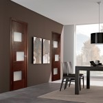 : Interior oak doors with glass provide the possibility to view the other room