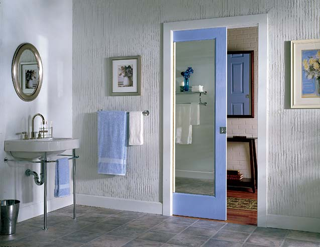 Interior pocket doors with frosted glass are good for bathrooms