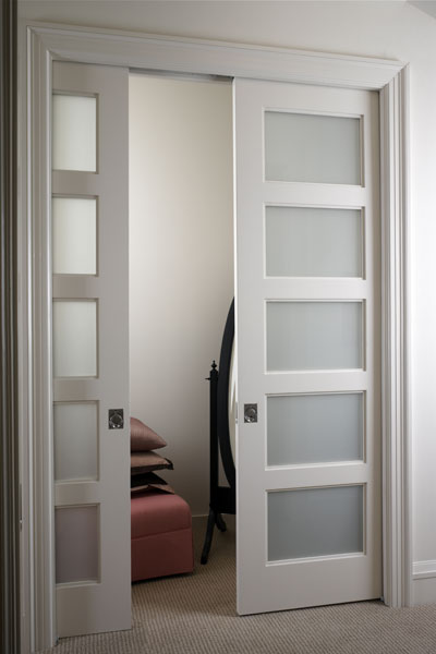 Interior pocket doors with glass are sound proof