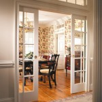 : Interior pocket doors with windows make the room lighter