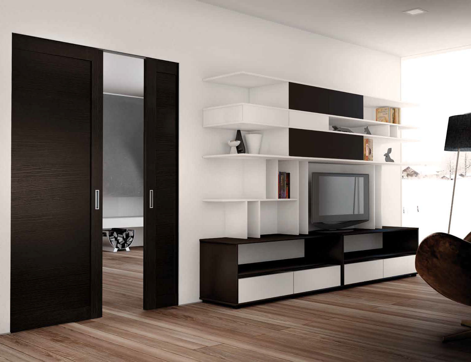 Interior wooden pocket doors are fashionable