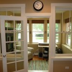 : Internal oak doors treatment includes decorative elements