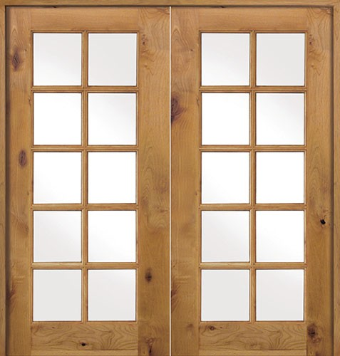 Knotty alder interior French doors are esthetic and classy