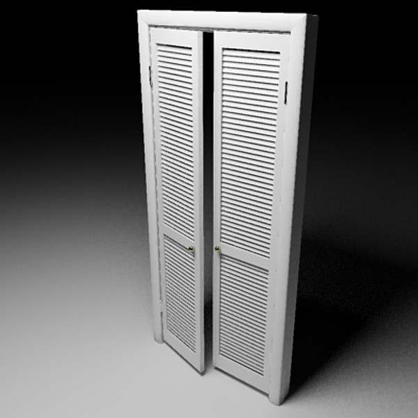 Louvered interior French doors have distinctive features