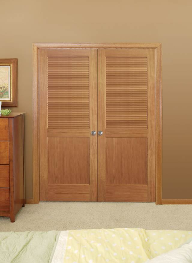 Louvered interior double doors are good for living rooms