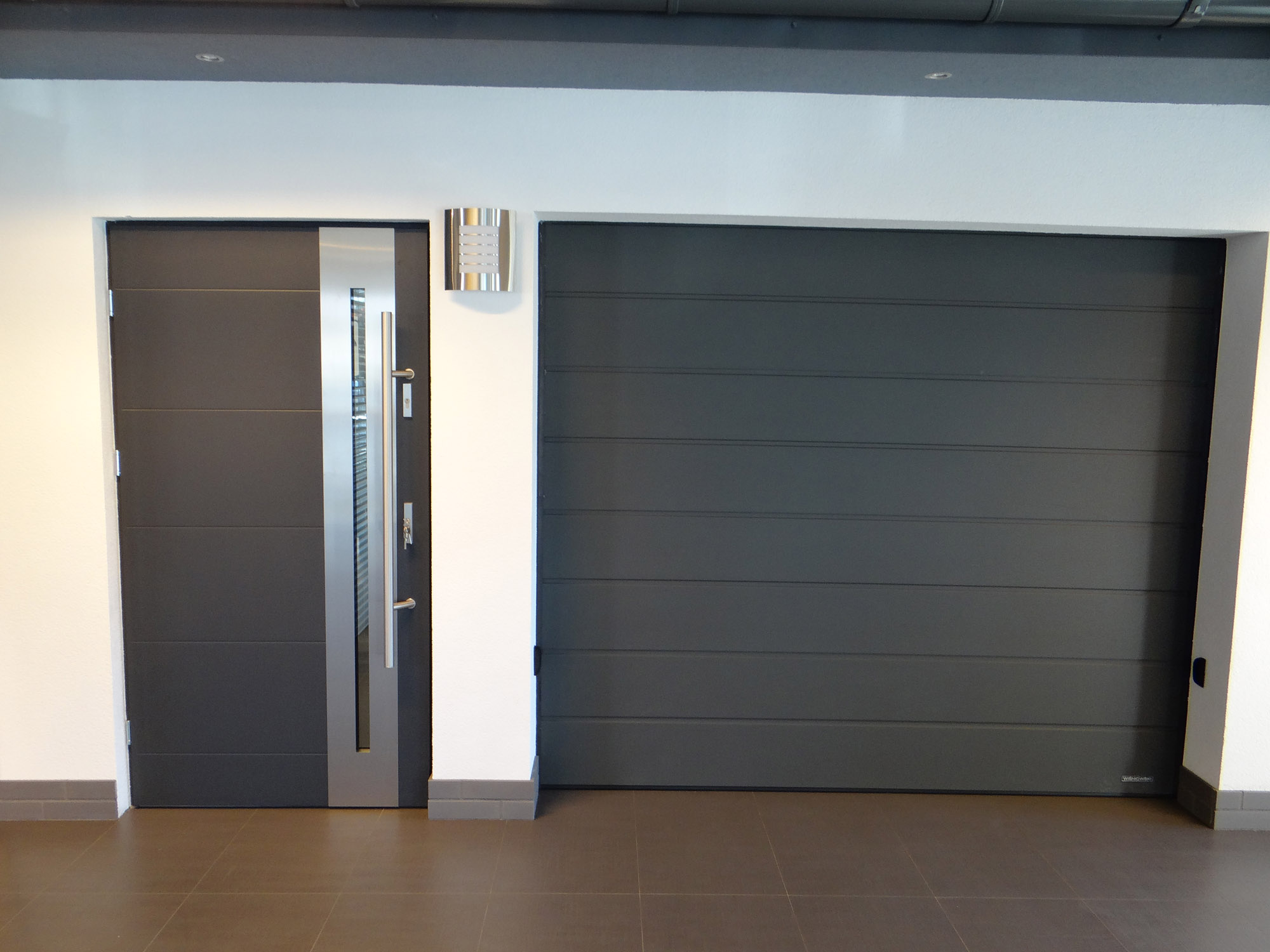 Metal entry doors with glass have a contemporary look
