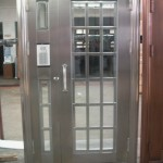 : Metal exterior doors with solid tempered glass