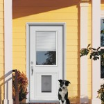 : Prehung exterior door with dog door is ideal for a pet lover