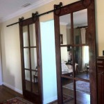 : Residential interior pocket doors are decorated