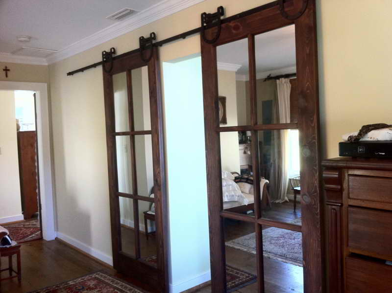 Residential interior pocket doors are decorated