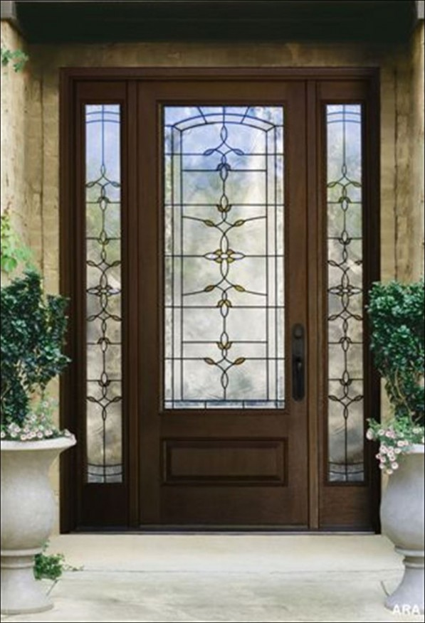 Round top wood storm doors look so cute when decorated with real plant vines