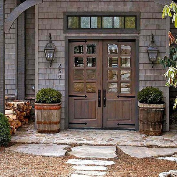 Rustic exterior double doors look very imposing