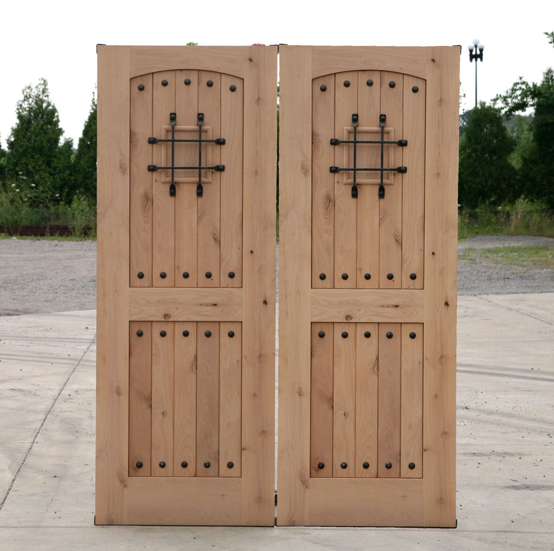 Rustic interior doors for sale are made of real hardwood and may be left unfinished